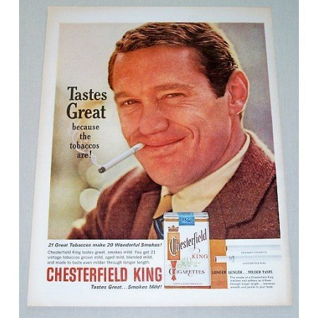 1963 Chesterfield King Cigarettes Color Tobacco Print Ad