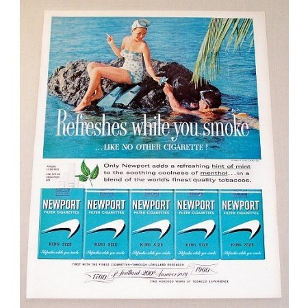 1960 Newport Cigarettes Scuba Diving Color Tobacco Print Ad