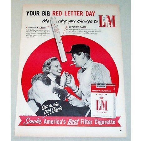 1956 L & M Cigarettes Color Tobacco Print Ad - Red Letter day