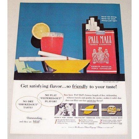 1960 Pall Mall Cigarettes Retro Color Art Tobacco Print Ad