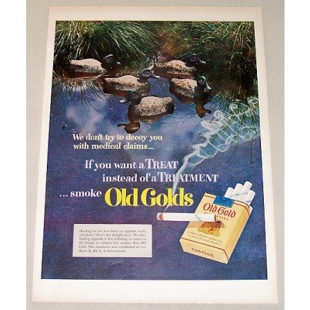 1951 Old Gold Cigarettes Ducks Water Fowl Color Tobacco Print Ad