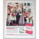 1957 Winston Cigarettes Circus Carnival Clown Color Tobacco Print Ad