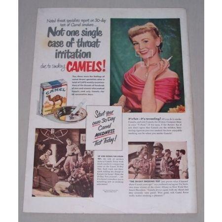 1949 Camel Cigarettes Color Tobacco Print Ad - 30 Day Smoke Test