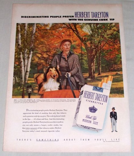1953 Herbert Tareyton Cigarettes Fall Art Color Tobacco Print Ad
