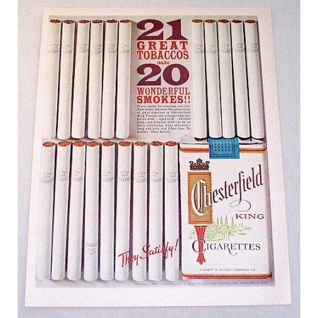 1962 Chesterfield Cigarettes Color Tobacco Print Ad - 21 Great Tobaccos
