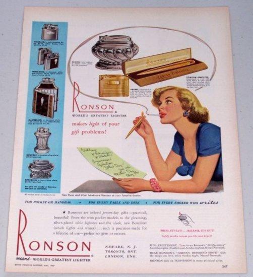 1949 Ronson Pocket Table Cigarette Lighters Color Print Ad