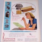 1949 Ronson Pocket Table Cigarette Lighters Color Print Ad
