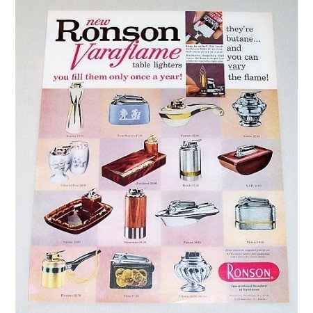 1960 Ronson Varaflame Lighters Color Print Ad 15 Models