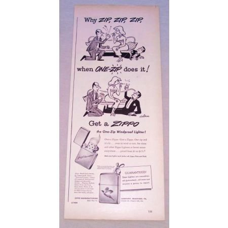 1950 Zippo One-Zip Windproof Lighter Vintage Print Ad