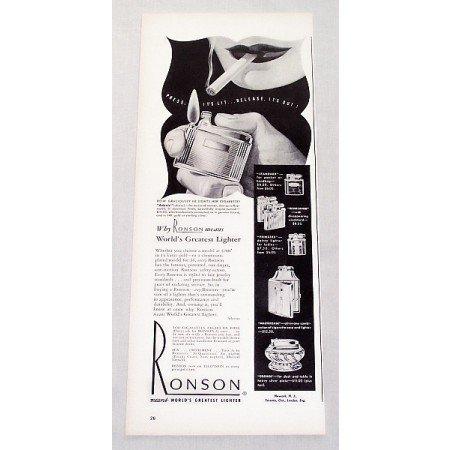 1947 Ronson Adonis Cigarette Lighter Vintage Print Ad