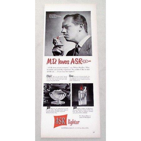 1949 ASR Lighter Vintage Print Ad Celebrity Melvyn Douglas