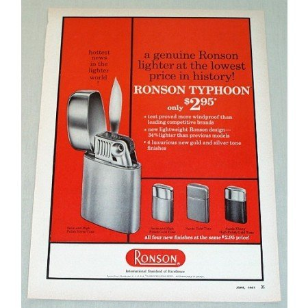 1961 Ronson Typhoon Cigarette Lighter Color Print Ad