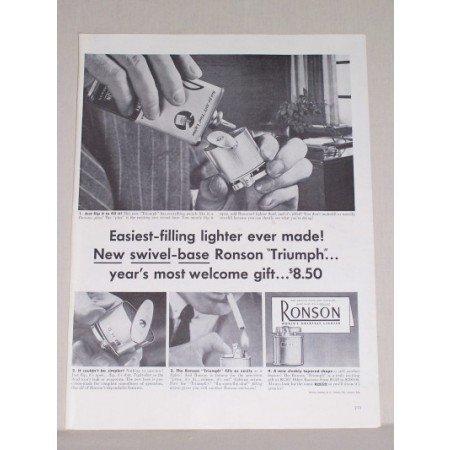 1953 Ronson Triumph Lighter Vintage Print Ad - Easiest Filling