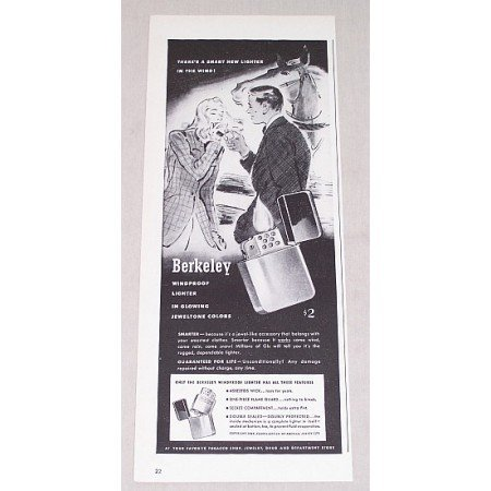 1946 Berkeley Windproof Lighter Print Ad - Jeweltone Colors