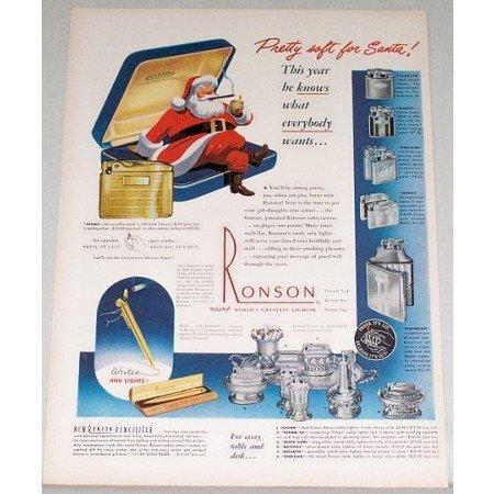1948 Ronson Lighters Color Print Ad - Pretty Soft For Santa
