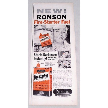 1956 Ronson Fire Starter Igniting Fluid Vintage Print Ad