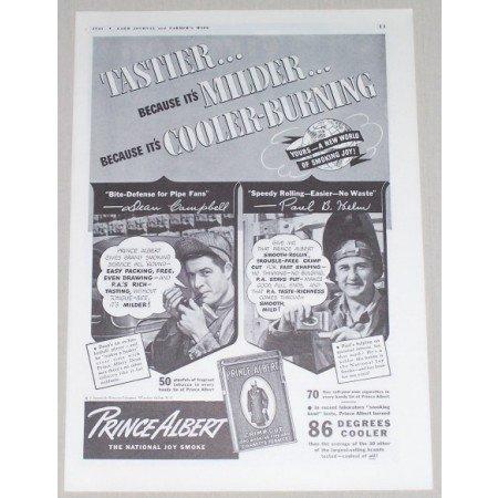 1941 Prince Albert Pipe Tobacco Vintage Print Ad - Tastier...Milder