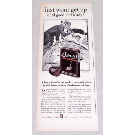 1939 Briggs Pipe Tobacco Vintage Print Ad - Just Won't Get Up