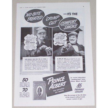 1941 Prince Albert Pipe Tobacco Vintage Print Ad - No-Bite Treated