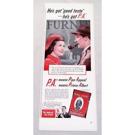 1947 Prince Albert Pipe Tobacco Color Print Ad - He's Got Good Taste