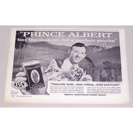 1957 Prince Albert Tobacco Vintage Print Ad Celebrity Opry Singer Hank Snow