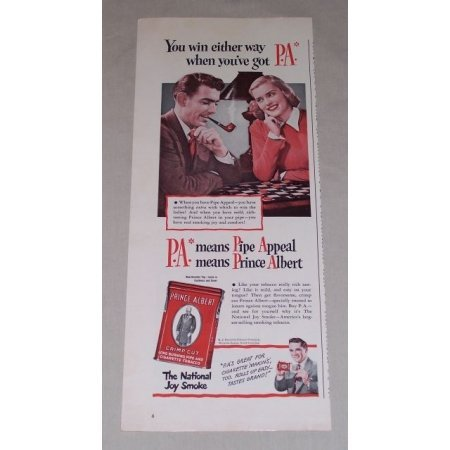 1949 Prince Albert Pipe Tobacco Color Ad - Checkerboard