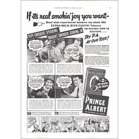 1938 Prince Albert Pipe Tobacco Vintage Print Ad - Real Smokin' Joy