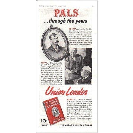 1938 Union Leader Pipe Tobacco Color Print Ad - Pals