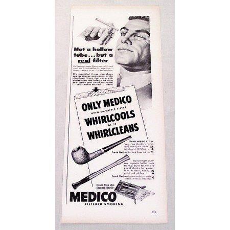 1947 Medico Pipe Absorbent Filters Vintage Print Ad