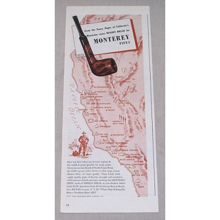 1946 Monterey Mission Briar Smoking Pipes Color Print Ad