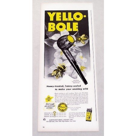 1947 Premier Yello-Bole Apple Shape Smoking Pipe Color Print Ad