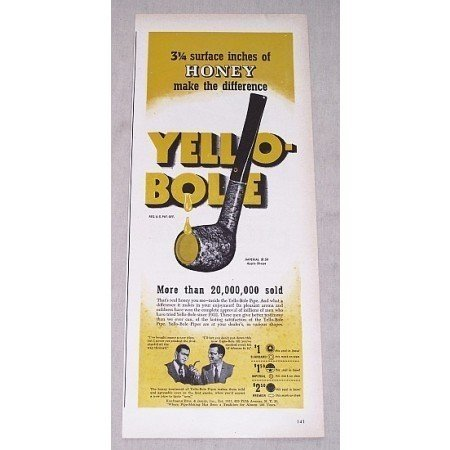 1946 Yello-Bole Imperial Apple Shape Smoking Pipe Color Print Ad
