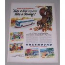 1949 Greyhound Bus Lines Squirrel Animal Art Color Print Ad - Crisp Fall Days