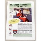 1937 Greyhound Bus Lines Color Print Ad - Smoothest Ride