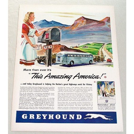 1943 Greyhound Bus Lines Color Mountain Scenery Art Print Ad - Amazing America