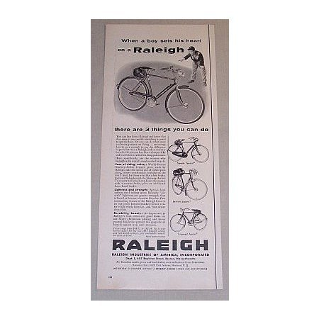 1955 Raleigh Sports Tourist Lenton 3-Speed Jr Bicycle Vintage Print Ad