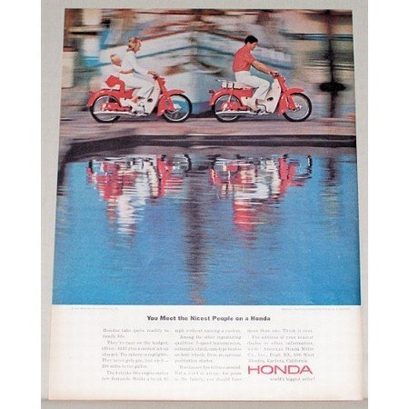 1964 Honda 4 Stroke 50cc Cycles Color Print Ad