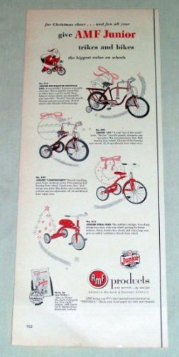 1953 AMF Junior Trikes Bikes Tricycle Bicycle Color Print Ad
