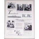 1955 United States Lines Vintage Print Ad - Transatlantic