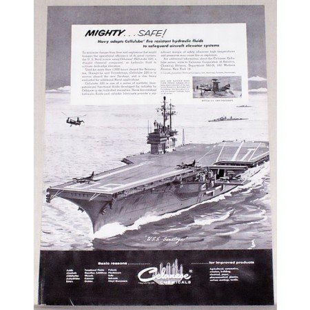 1956 Celanese Chemicals USS Saratoga Aircraft Carrier Vintage Print Ad