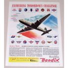 1945 Bendix Engineering Air Transport Aircraft Color Print Art Plane Ad