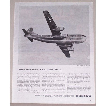 1945 Boeing C-97 Army Transport Plane Vintage Print Ad - Coast Record