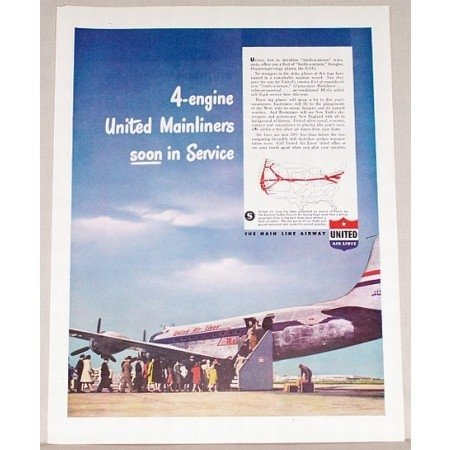 1946 United Air Lines Mainliner Plane Color Print Ad