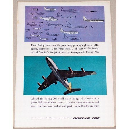 1957 Boeing 707 Jet Airliner Color Print Ad