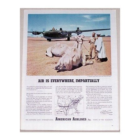1944 American Airlines Camel Animal Color Print Ad - US Army Transport