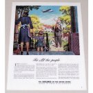 1945 Airlines Of The United States Bingham Art Color Print Ad - For All The People