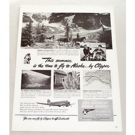1947 Pan American Airways Vintage Print Ad - Fly To Alaska By Clipper
