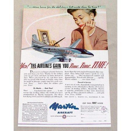1955 Martin Aircraft Aviation Plane Color Print Ad