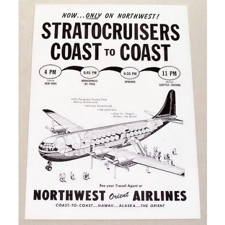 1949 Northwest Airlines Vintage Print Ad - Boeing Stratocruiser