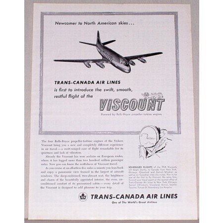 1955 Trans Canada Air Lines Vintage Print Ad - Newcomer To North